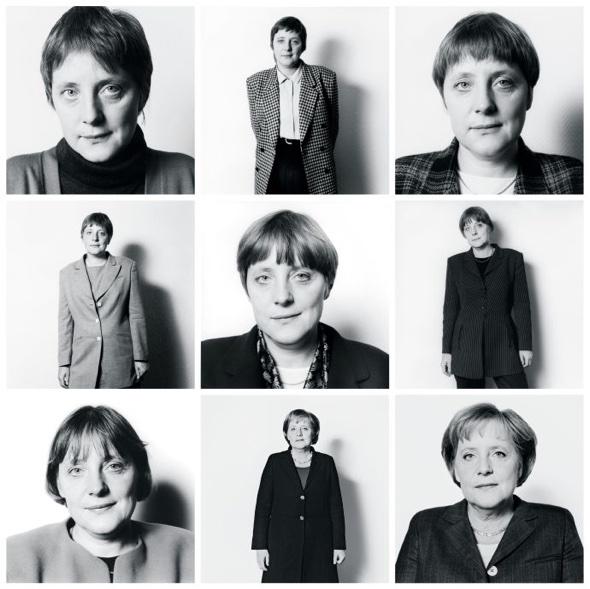 """Herlinde Koelbl hat Angela Merkel seit 1991 fotografiert. Koebl sagt: """"Sie schien immer etwas unbeholfen, aber man konnte ihre Stärke gleich zu Beginn spüren."""""""