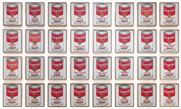 Andy Warhol Campbell's Soup Cans 1962 via MOMA