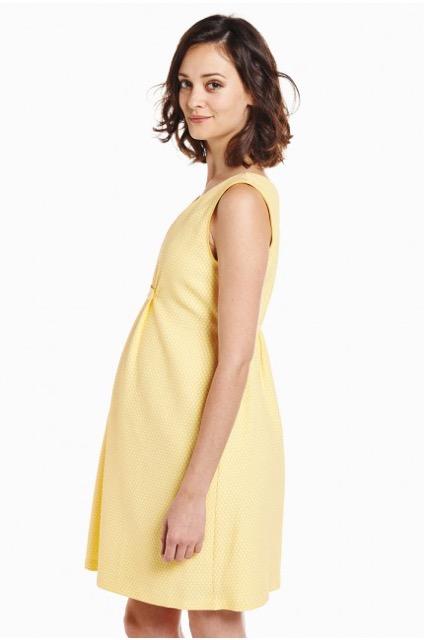 Robe de grossesse et d'allaitement habillée jaune et blanc Laeticia, POMPKIN, Emoi emoi, 125,00€