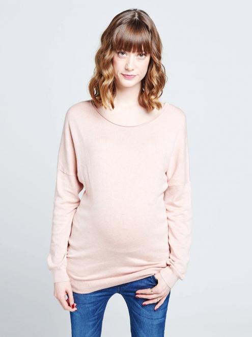 Pull de grossesse rose avec ceinture amovible Sabrina