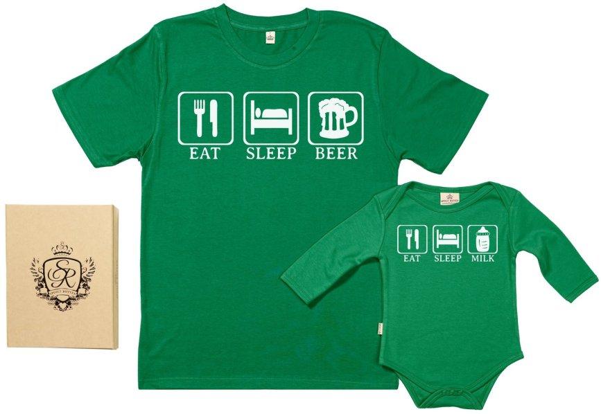 duo de t shirt papa et bebe Eat Sleep Drink Coton Bio amazon
