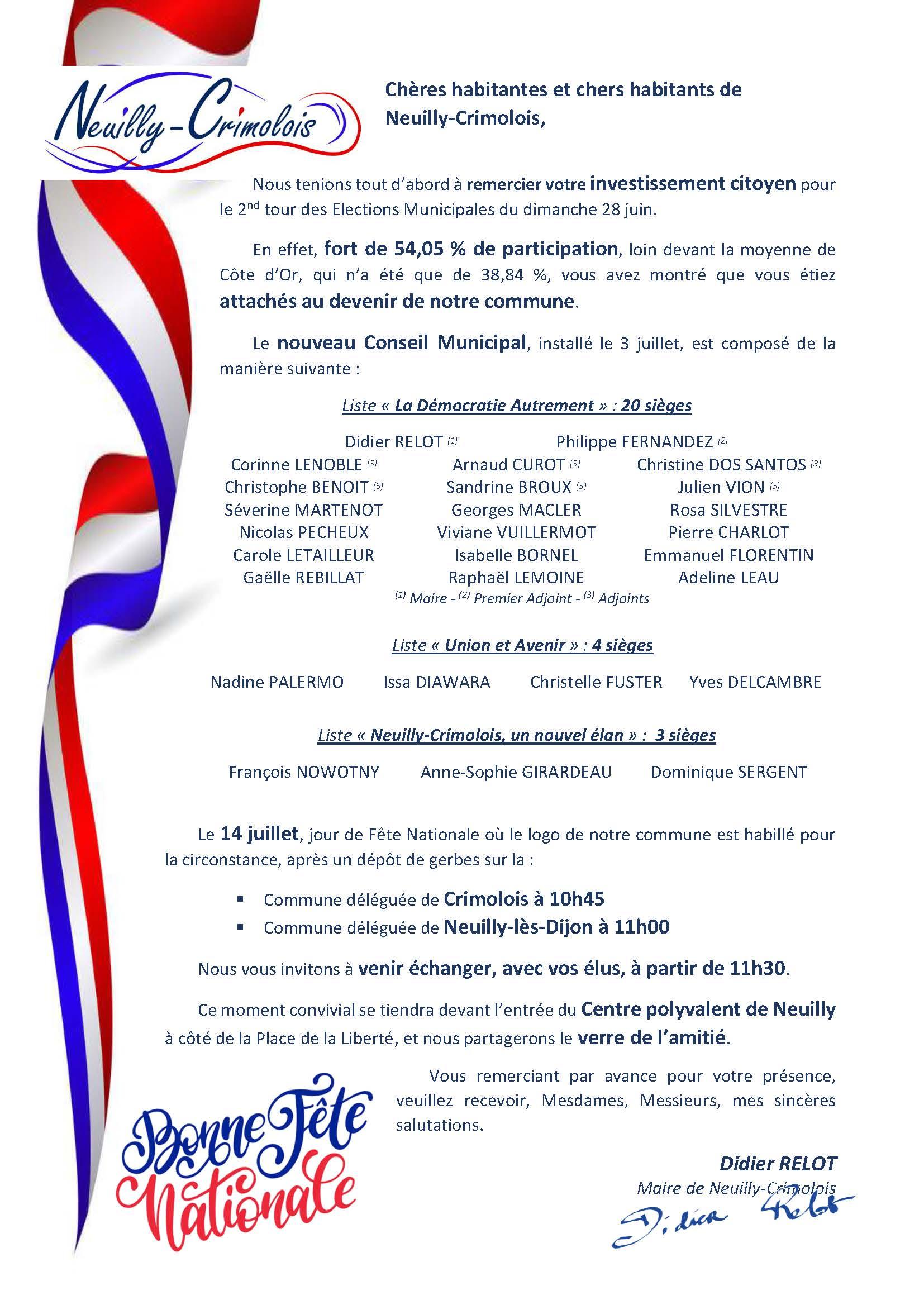 Cérémonies du 14 juillet à Neuilly-Crimolois