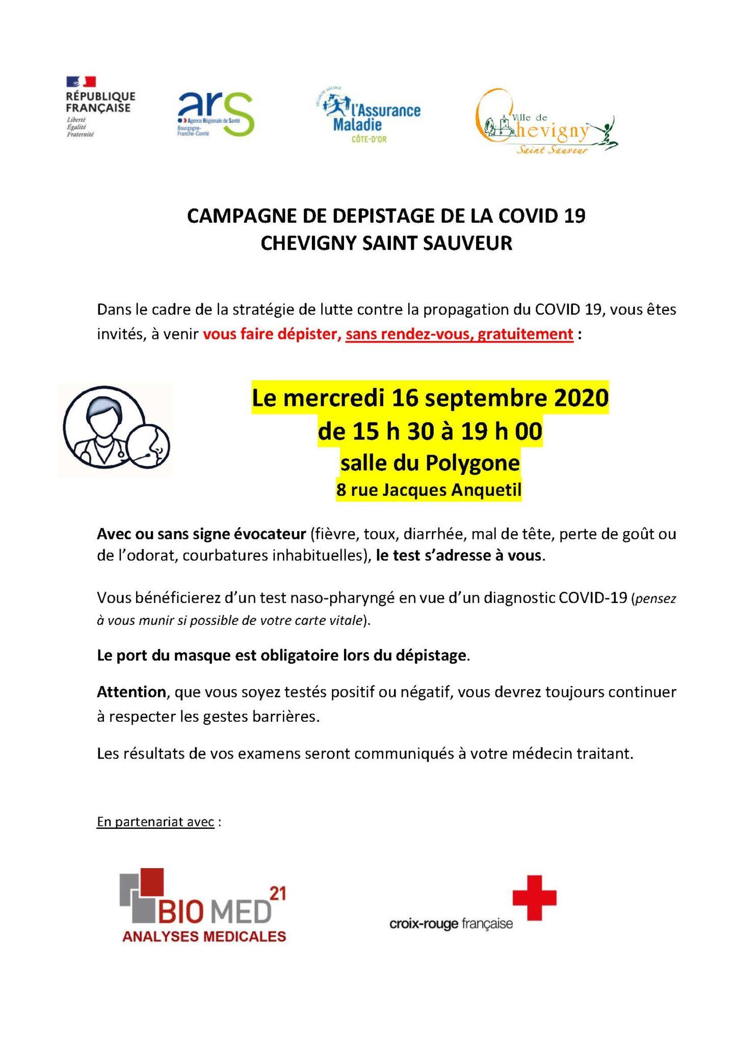Campagne de dépistage COVID-19 à Chevigny-Saint-Sauveur le mercredi 16 Septembre 2020