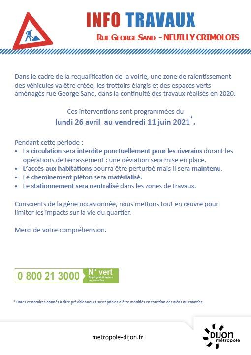 Infos travaux : Rue George Sand du 26 avril au 11 juin 2021.