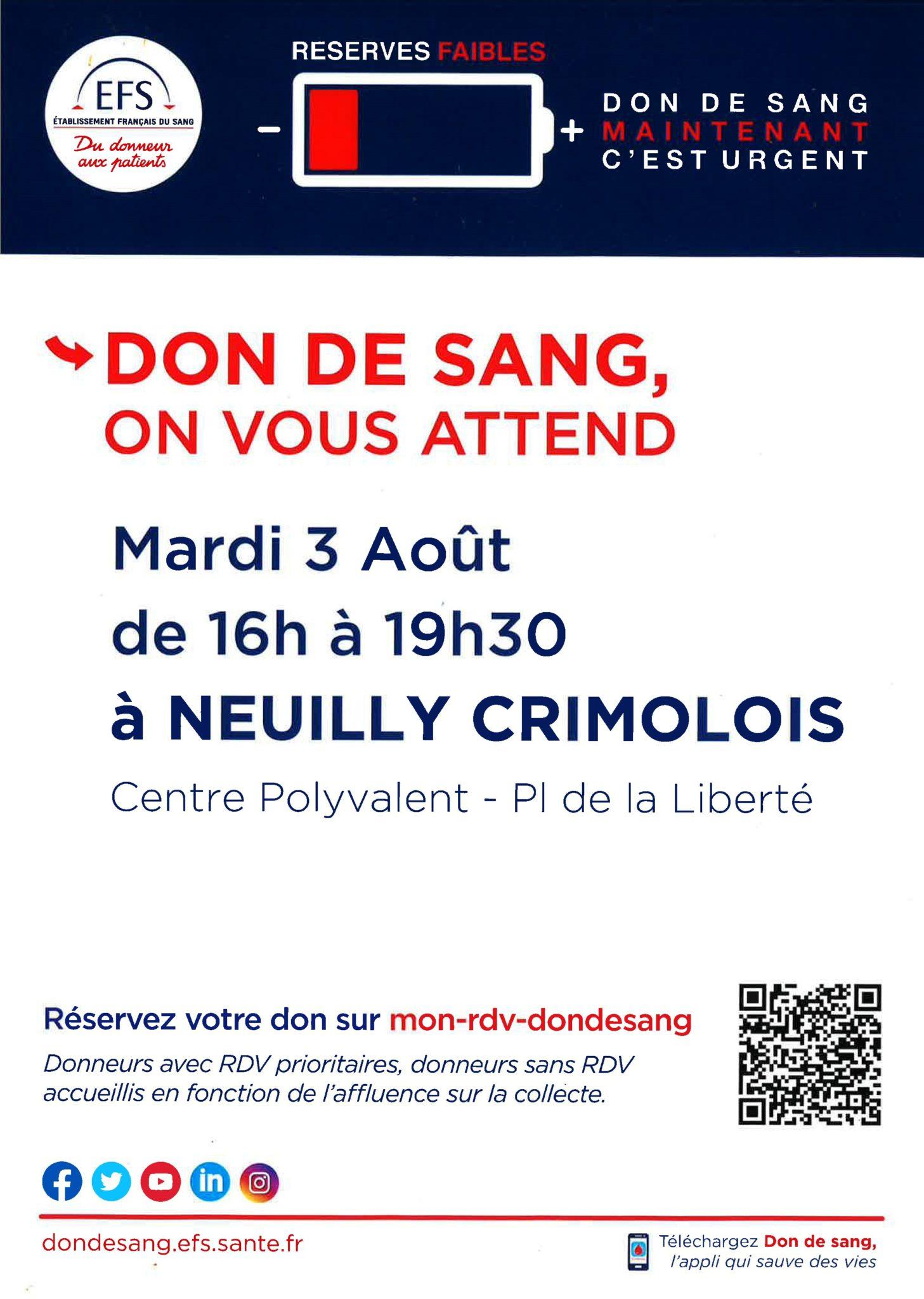 Read more about the article Don de sang mardi 3 août. Mobilisons-nous, les réserves sont faibles.