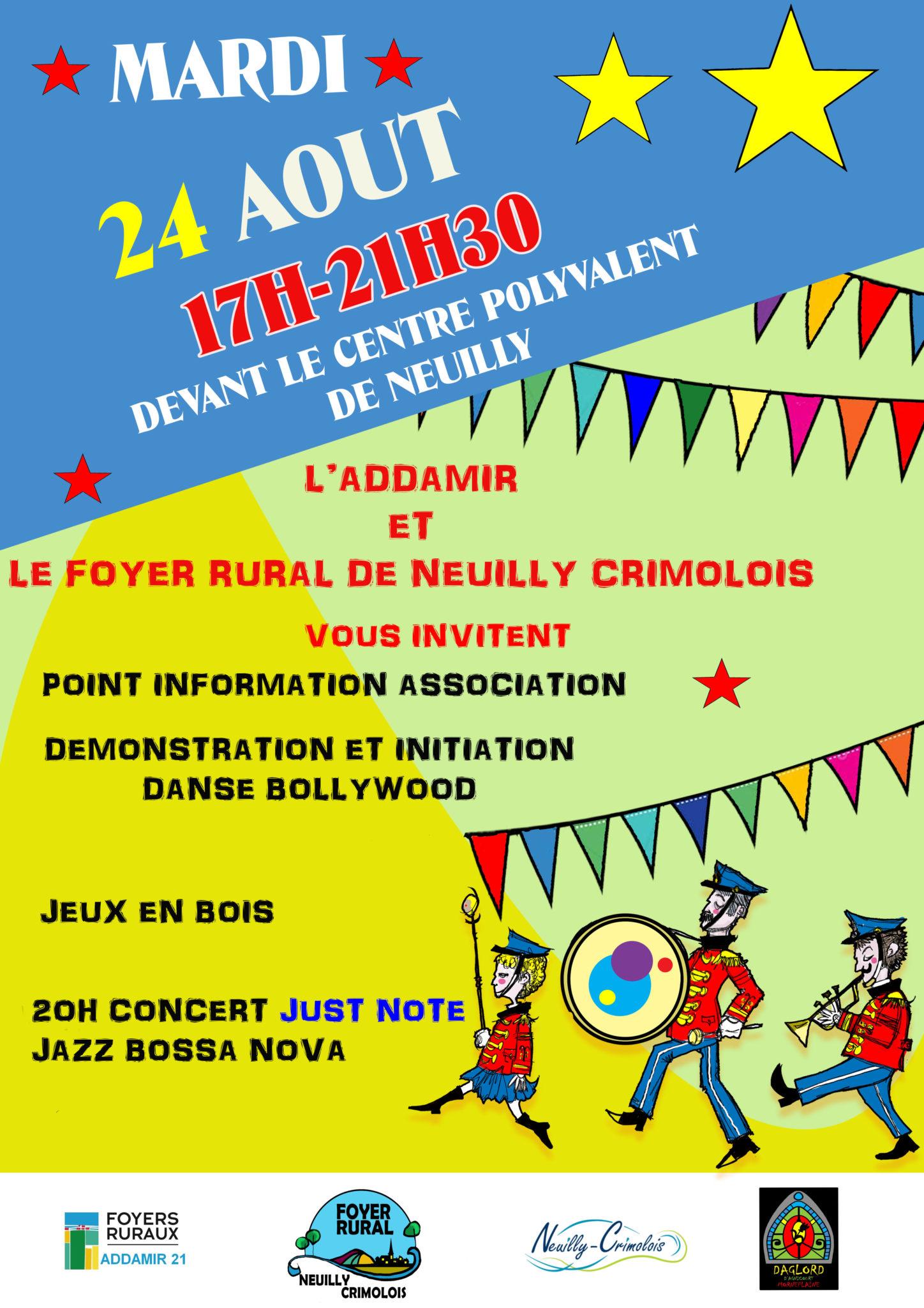 Read more about the article Le foyer rural et l'ADDAMIR vous invitent le mardi 24 août.