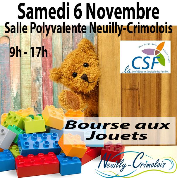 Read more about the article La CSF vous invite à sa bourses aux jouets le 6 novembre prochain.