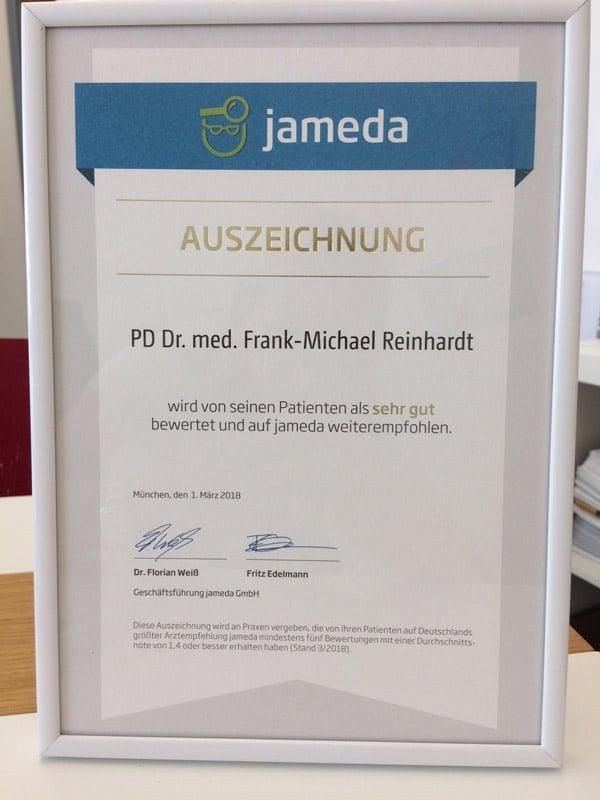 Jameda Auszeichnung Frank-Michael Reinhardi