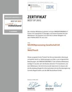 Zertifikat Innovationspreis-IT