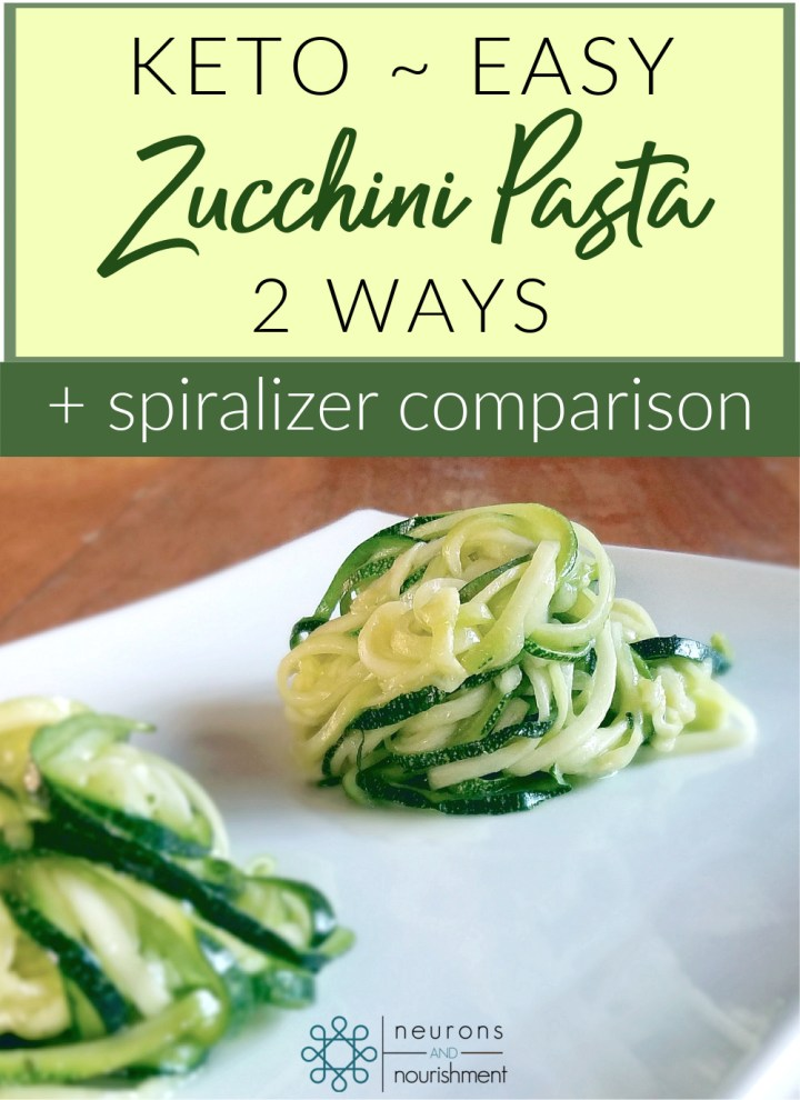 zucchini noodles in 2 piles with text overlay that says Keto Easy Zucchini Pasta 2 Ways + Spiralizer Comparison