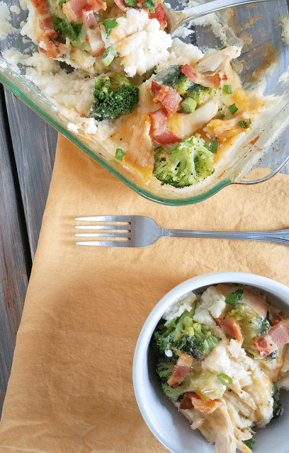 Cauliflower mash topped with chicken, cheese, bacon and broccoli come together to make a delicious meal that is grain-free, gluten-free, low-carb and ketogenic!