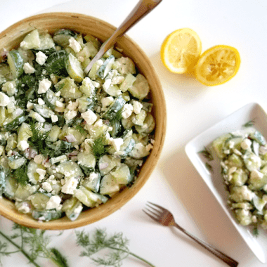 This cucumber salad is made with the delicious and time-tested flavors of tzatziki sauce! Not only is it refreshing and easy to make, it's nutritious, gluten-free, low-carb, keto-friendly and full of probiotics!
