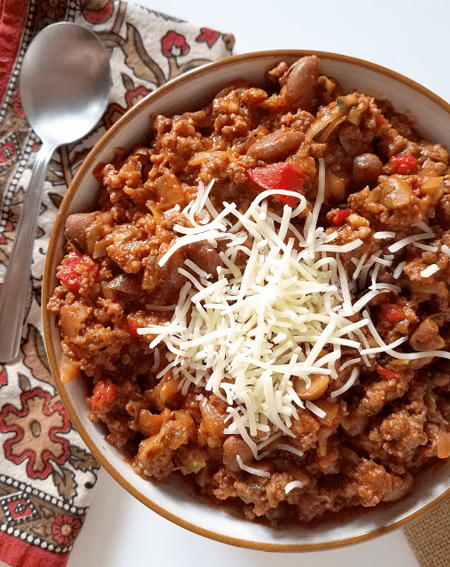 Slow Cooker Roasted Red Pepper Chili by Taste Abounds