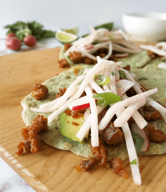 If you love chorizo, you will love these tacos! Radish-Jicama Slaw balances the richness and bold flavor of the chorizo perfectly, and it all stays wrapped up thanks to my grain-free pumpkin seed flour tortillas. Packed with nutrients and flavor, yet grain-free, dairy-free, low carb and Paleo, these Chorizo Tacos are a fun and healthy way to enjoy breakfast, Taco Tuesday, or Cinco de Mayo!
