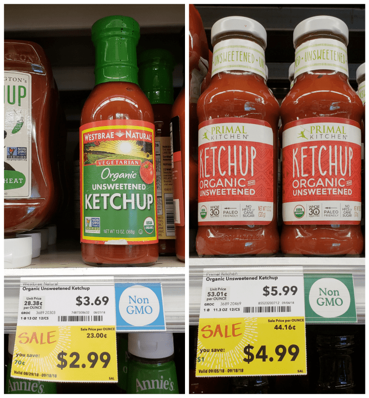 Paleo and Whole30 Ketchup options at Whole Foods, used to make Currywurst Stuffed Sweet Potatoes