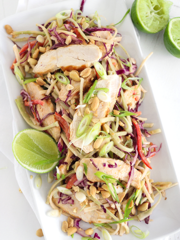 overhead photo of shredded broccoli, purple cabbage and red bell pepper with slivered scallions and sliced chicken all on a plate with cut limes