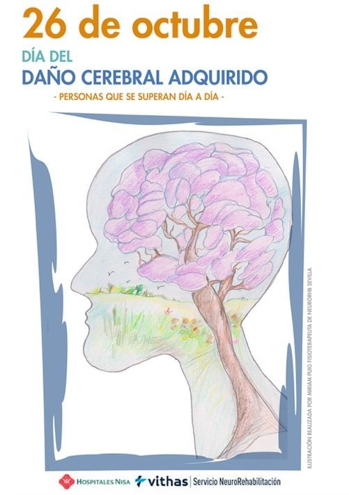 Cartel del Día del Daño Cerebral del Servicio de NueroRehabilitación del Hospital Vithas Nisa Sevilla Aljarafe