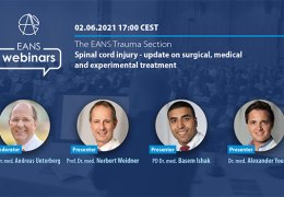 """Wednesday, June 2, EANS Trauma Webinar: """"SPINAL CORD INJURY – UPDATE ON SURGICAL, MEDICAL AND EXPERIMENTAL TREATMENT"""""""