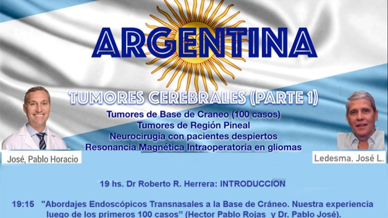 """Domingo, a las 7 pm tiempo Buenos Aires, """"Grandes Rondes de Neurocirugia de Argentina"""", con Roberto Herrera MD y otros"""