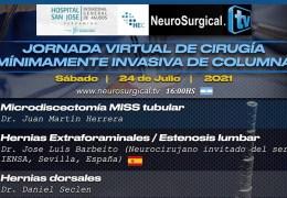"""Grabado VIVO…………………..Sabado, 24 Julio, 4 pm tiempo Argentina, """"Journada Virtual de Cirugia Minimamente Invasiva de Columnaa"""""""