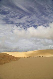 Ein Fels mitten im Sandmeer.