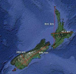 Dimensionen Neuseelands