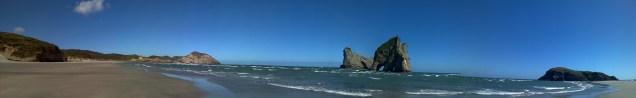 Panorama-Ansicht von Wharariki Beach