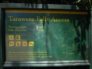 Wegbesschreibung zum Tarawera Wasserfall