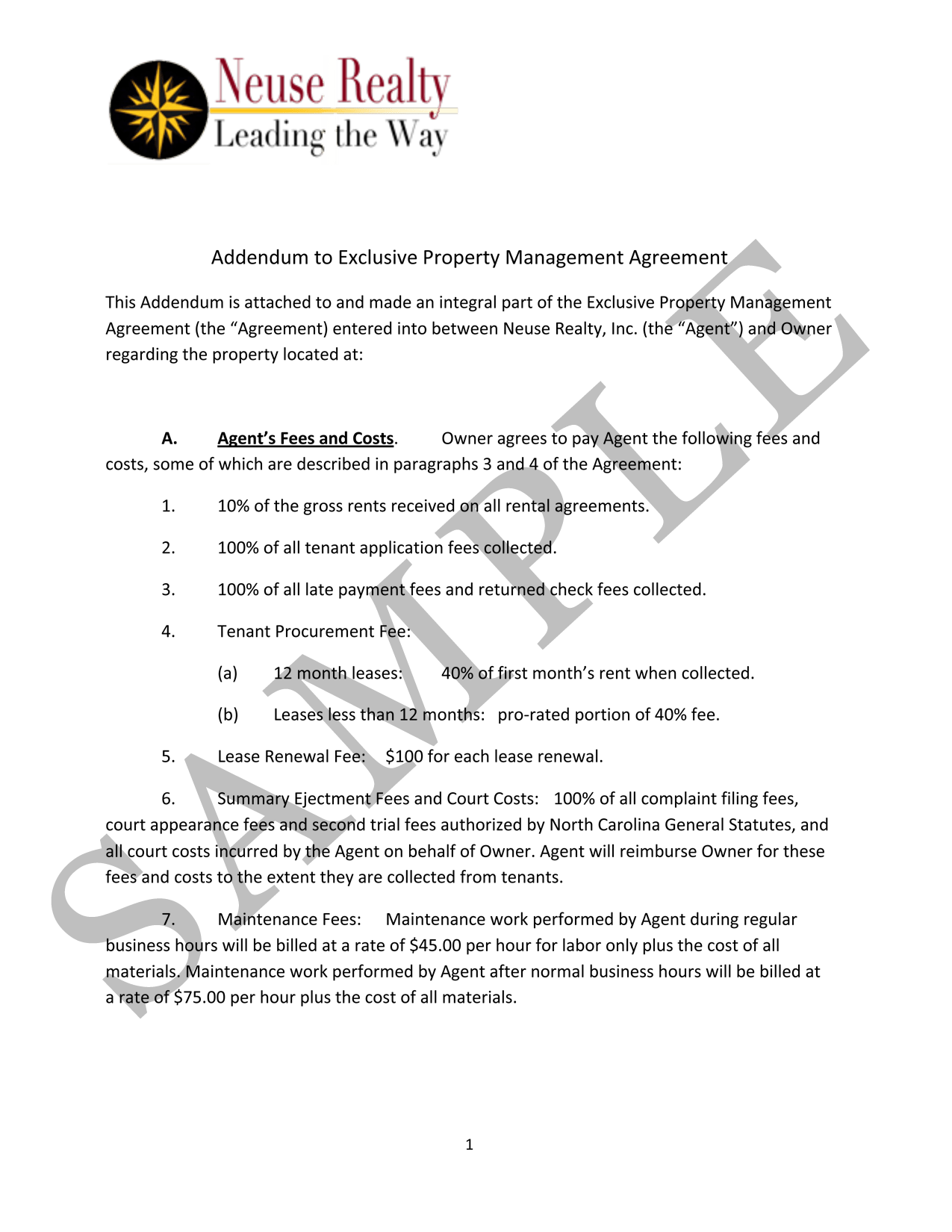 Sample Property Management Addendum