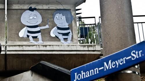 Was gibt Willi denn der Maja? Fotografiert von Christoph im Hecht-Viertel. Anklicken, um das Bild zu vergrößern.