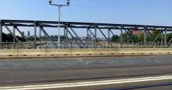 Albertbrücke mit Blick auf das Radfahr- und Fußgängerprovisorium