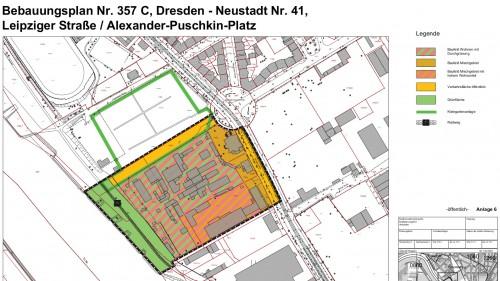 Ausriss aus dem alten Bebauungsplan 357 C - Gelände von Marina Garden, der so noch im Ratsinfosystem steht.