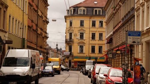 Blick von der Görlitzer auf die Rothenburger Straße