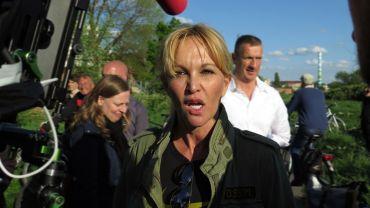 Regine Töberich am Tag der Bagger, 7. Mai, kurz vor der Ohrfeige.
