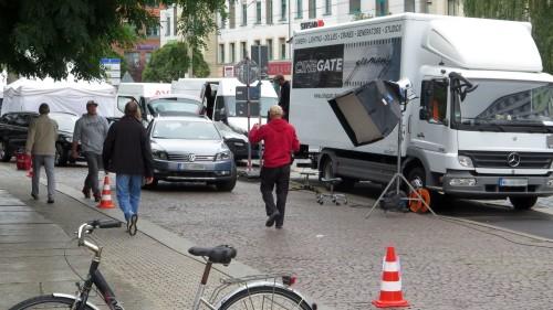 Viel Trubel auf dem Fußweg der Königsbrücker Straße