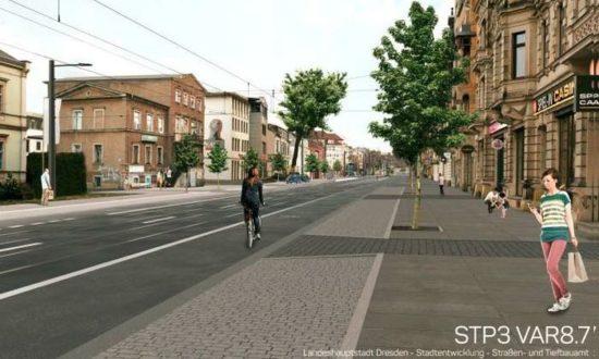 Die Visualisierung für die Variante 8.7 für den Abschnitt zwischen Louisenstraße und Bischofsweg