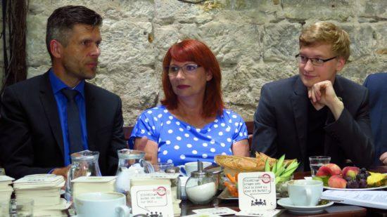 DVB-Vorstand Seiffert, Ministerin Köpping und Atticus-Vorstand Hattke