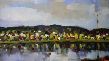 """Olaf Amberg: """"Frühjahr"""", 2016, Öl/Leinwand, 90 x 120 cm (Ausschnitt)"""