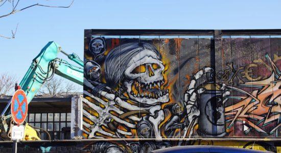 Die Grafitti müssen den neuen Wohnungen des Stadtquartiers weichen