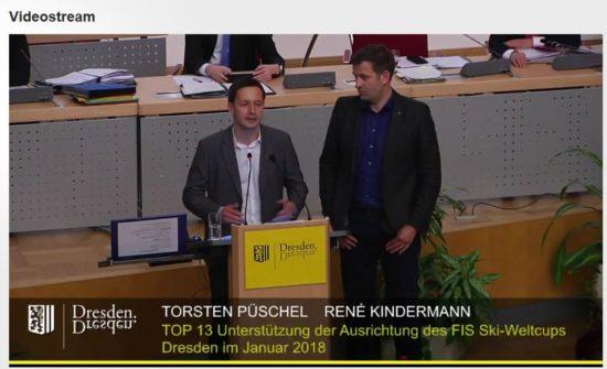 Torsten Püschel und Rene Kindermann stellten ihr Projekt heute im Stadtrat vor. Screenshot: Livestream dresden.de
