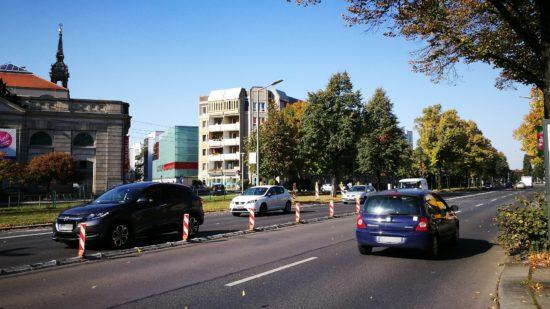 Albertstraße ohne Brücke und Ampel.