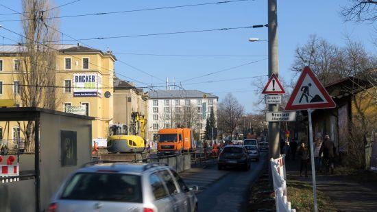 Bauarbeiten an der Königsbrücker Straße zwischen Stauffenbergallee und Fabricestraße