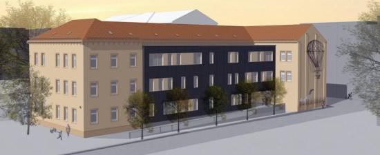 So soll der neue Seitenflügel der 15. Grundschule aussehen - Visualisierung: Schulverwaltungsamt