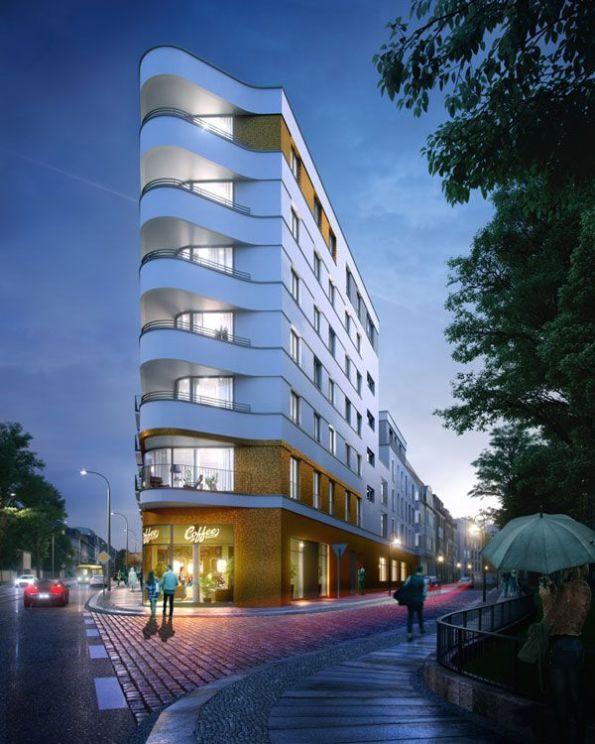 Visualisierung des Eckgebäudes an der Prießnitzstraße