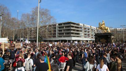 Demonstration am Neustädter Markt