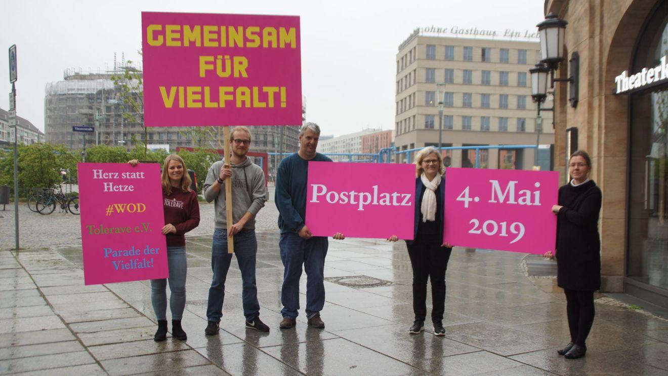 Zum Aktionstag am 4. Mai stellen Tolerave e.V., Herz statt Hetze, Weltoffenes Dresden und die Parade der Viefalt ein breit gefächertes Programm auf die Beine