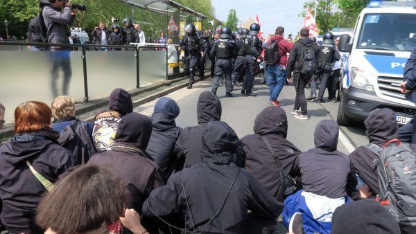 Blockade an der Großen Meißner Straße
