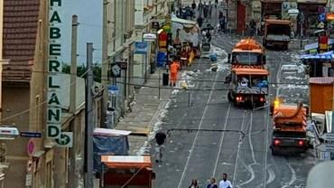 Stadtreinigung auf der Rothenburger Straße. Foto: Josi