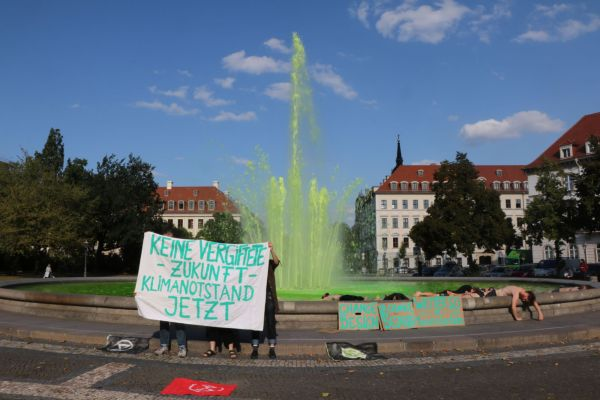 Protestaktion im Brunnen am Palaisplatz - Foto: XR