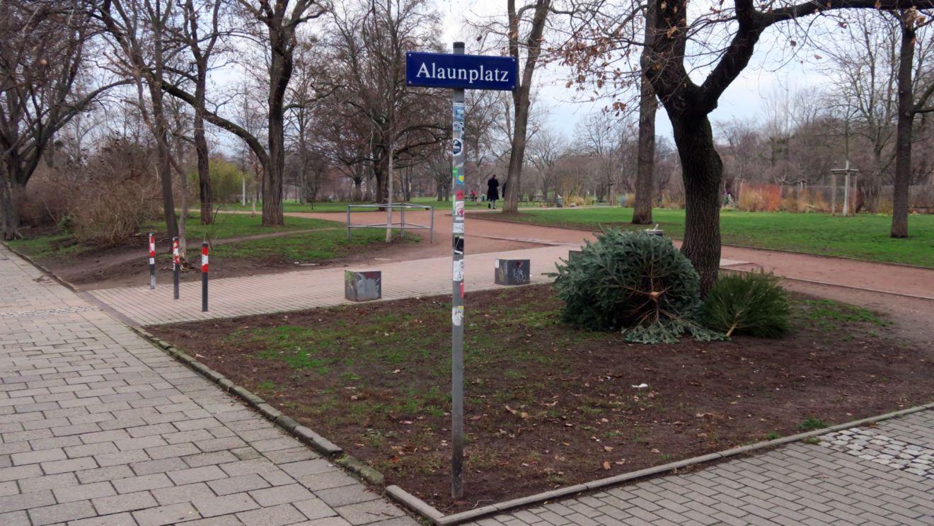 Weihnachtsbaum-Ablage-Platz am Alaunplatz